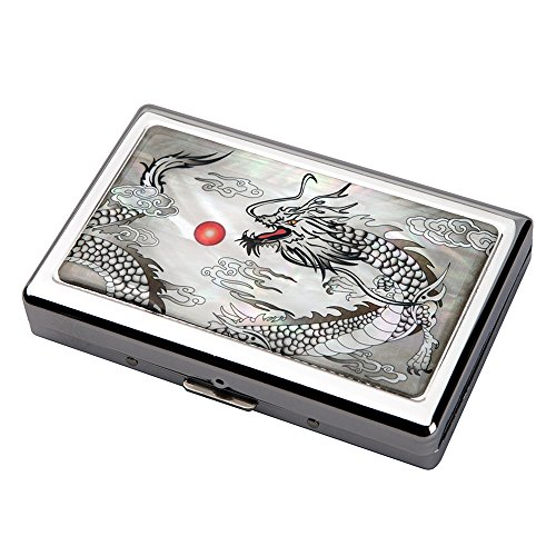 Étui Compact Élégant Design de Nacre DRAGON NOIR Intérieur Métallique pour 16 Cigarettes 100s/King Size ou Porte Billet 5/10 euros