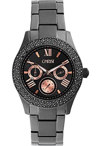 CHRIST times Damen-Armbanduhr Edelstahl Analog Quarz One Size, grau, schwarz