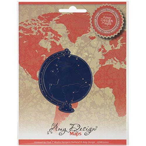 AMY card deco Design Maps Stanz- und Prägeschablone ADM10002, Globus (Globe), Schablonengröße ca.