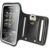 iGadgitz Reflective Anti-Slip Black Sports Jogging Gym Armband for Sony Walkman NWZ-E585 & NWZ-E384 With Key Slot