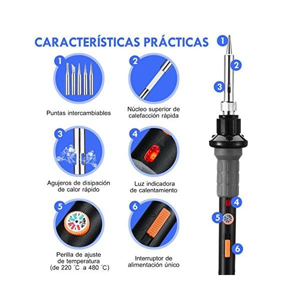 VicTsing Soldador Electrónica de Estaño con 3 Luces LED y Interruptor