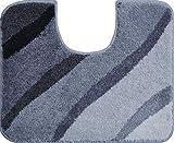Grund Badteppich 100% Polyacryl, ultra soft, rutschfest, ÖKO-TEX-zertifiziert, 5 Jahre Garantie, DUNA, WC-Vorlage m.A. 50x60 cm, grau
