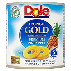 Dole Tropical Gold Premium tranches d'ananas en jus (432G) - Paquet de 6