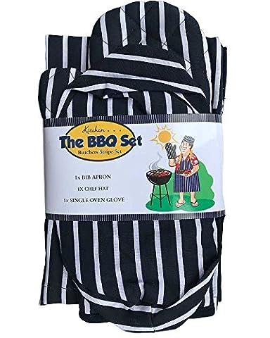 Lancashire Textiles 3pièces de cuisine Boucher BBQ Barbecue griller de cuisine Ensemble de cuisson au four Gant de toilette Gant Tablier Bundle Lot d'accessoires