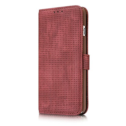 Retro Matte Breatheable Air-Mesh PU-Leder Folio Stand Brieftasche Beutel Case Cover mit Kickstand Card Slots für iPhone 6 Plus und 6s Plus ( Color : Blue ) Red