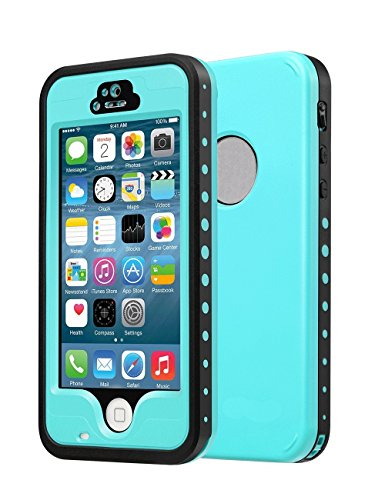 Sunwukin Custodia Waterproof Dog & Muta Impermeabile per iPhone 5S 5 IP68 Antipolvere Snow-Proof Anti-Urto Case Protettiva Resistente Cover (Erba Blu)