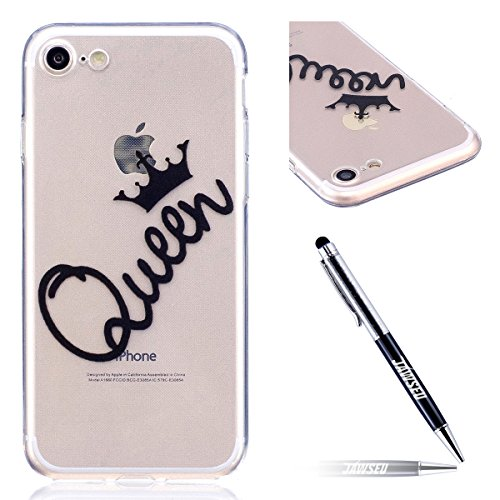 iPhone 7 Custodia Transparente, iPhone 7 Cover Silicone, JAWSEU Super Sottile Crystal Chiaro Custodia per Apple iPhone 7 Bumper Corpeture Case Creativo Disegno Antiurto Anti-scratch Shock-Absorption S Queen
