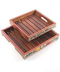 VarEesha Handcrafted Madhubani / Designer / Unique Wooden Tray Set Of 2 - For Kitchen/ Serving Trays/ Dinning/ Fancy Trays/ Gifts