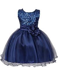 56efb40e167 Enfant Fille Robe Paillette Sequins Tutu Princesse Nœud Papillon Fleur Robe  de Cérémonie Mariage Demoiselle d