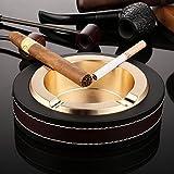 Luxus-Zigarren-Aschenbecher aus Edelstahl und Leder für drinnen und draußen goldfarben -