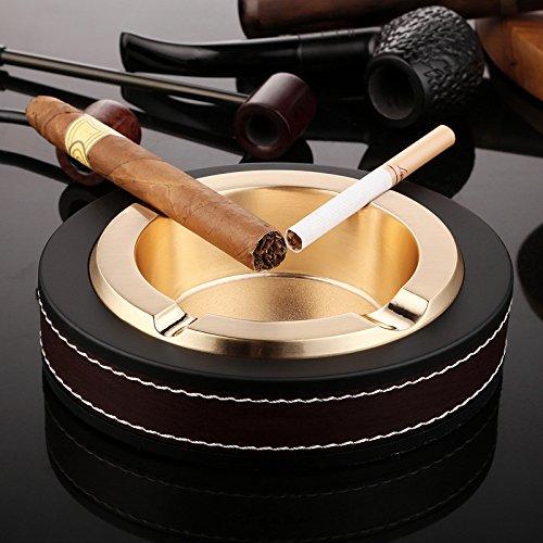 High-End Luxus Zigarren-Aschenbecher aus Edelstahl und Leder für drinnen und draußen goldfarben