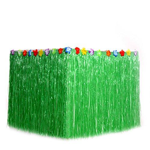 B & S Feel Hawaiian Luau Gras Tisch Rock mit tropischen Blumen für Tabletop Party Deko Party Supplies grün