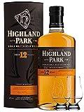 Highland Park 12 Jahre Single Malt Whisky Islands 0,7 Liter + 2 Glencairn Gläser