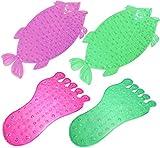niboline Rutschfeste Badematte Fuß Grün Saug-matten Star-Line Anti-Rutsch Wanneneinlage für Kinder und Babies für Badewanne