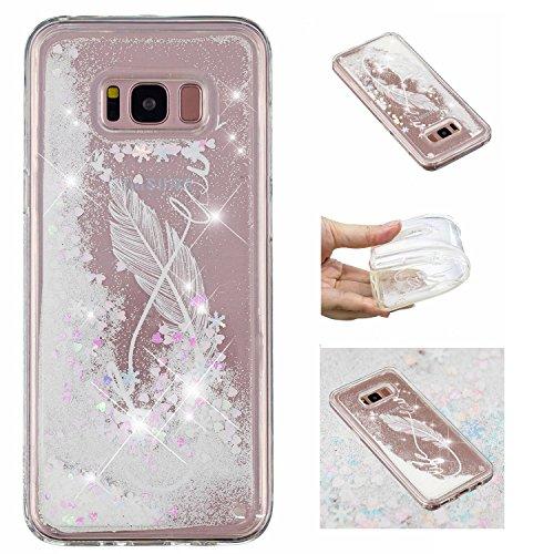 KM-Panda Samsung Galaxy S8 Hülle Glitzer Bling Liquid Flüssig Tasche Schutzhülle Handyhülle Transparent mit Muster Ultra Slim Dünn Silikon Bumper Etui Durchsichtig - Feder Spruch Quote Weiß