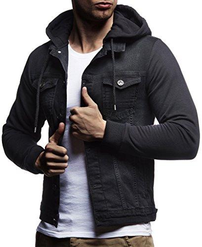 LEIF NELSON Herren Sweat-Jacke Denim | Vintage Jeans-Jacke für Männer mit Kapuze Slim-Fit Langarm | Freizeit Hoodie verwaschen, Casual - Vintage Herren Jeans
