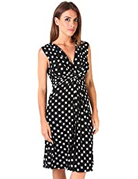 KRISP Damen Knoten Dekolleté Punkte Kleid