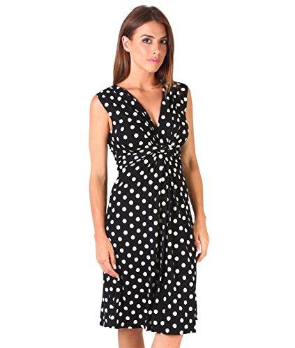 KRISP® mujeres nudo frontal vestido Flare Ruched Wrap cuello en V Negro Black [6147] 44