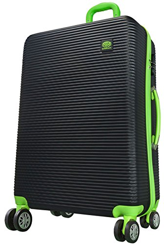 Koffer Santorin schwarz grün Größe XL Carbon / Polycarbonat ABS Hartschale Reisekoffer Trolley Case Fa. Bowatex