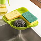 SpiderJuice Creative Useful Multipurpose Must Have Corner Sink Wash Basin Storage Organizer Rack Tray Shelf Sponge Spoons Brush Soap Scrub Lotion Bottle Holder Drainer Suction Based Easy to use Kitchen Accessories (Pack of 1, Random Color)