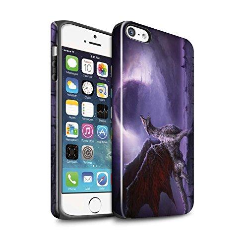 Offiziell Chris Cold Hülle / Glanz Harten Stoßfest Case für Apple iPhone 5/5S / Pack 10pcs Muster / Dunkle Kunst Dämon Kollektion Drachen/Finsternis
