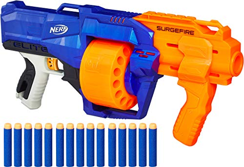 Nerf SurgeFire Elite Blaster -- 15-Dart Rotating Drum, Slam Fire, Includes 15 Official Nerf Elite Darts -- For Kids, Teens, Adults