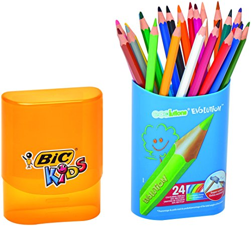 BIC Kids Evolution – Caja de lápices de colores con sacapuntas (24 unidades)