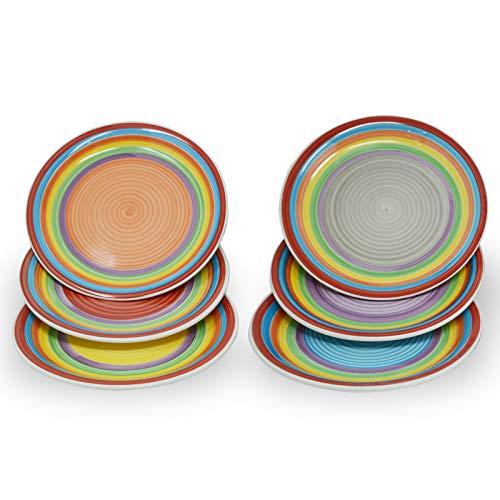 DRULINE 6er-Set Speiseteller 27 cm (Rot, Orange, Blau, Grau, Lila, Gelb)