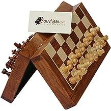 Souvnear Classic 25,4cm ultime Bois Jeu d'échecs de voyage magnétique avec Staunton (pièces d'échecs et d'un plateau de jeu de rangement pliable