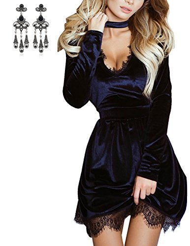 ... Sommerkleid Partykleid Schwarz. MODETREND Damen Samt Abendkleid mit  V-Ausschnitt und Langen Ärmeln Neckholder Ballkleid Kurz Kleid Cocktailkleid 9095caa353