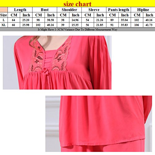 Zhhlinyuan Fashion Womens Long Sleeves Pyjama Set Two pieces Casual Sleepwear Watermelon Red