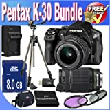 Pentax K-30 Digital Camera With 18-55mm AL And 55-300mm AL Lens Kit (Black) + 8GB SDHC Class 10 Memory Card + Extended Life Battery Accessory Saver Bundle!