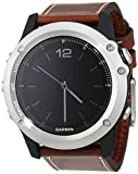 Garmin 010-01338 Fenix 3 Sapphire Edition - Reloj Multi-Sport Training GPS, color Reloj Plata/Correa marron