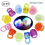 AIMONLIE LED Blinkende Jelly Ringe, Blinkende LED Bumpy Gummi Ringe, Blinkende Ringe, Leuchtendes Spielzeug, Finger Ringe mit verschiedenfarbigem Licht - 24 Pcs