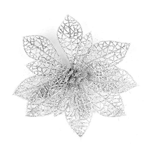 10 fiori artificiali glitterati intagliati, decorazione per matrimoni, feste, albero di natale, ghirlande, pvc, silver, diameter15cm