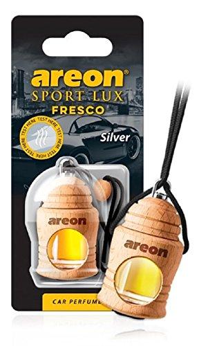Areon Fresco Sport Lux Silver Auto Lufterfrischer Hängen am Rückspiegel Hölzern Glasflasche 3D Gadget für Innendekoration Hause Büro Düfte (Silber Packung mit 1)