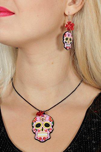 Wilbers Tag der Toten Set Halskette Ohrringe Zum Kostüm Halloween Karneval Day of Death