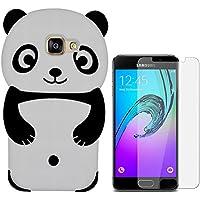 Hcheg Case Cover 3D en silicone pour Samsung Galaxy A5 (2016) Panda Design noir / Blanc Case Cover + 1X Nano-proof film de protection écran