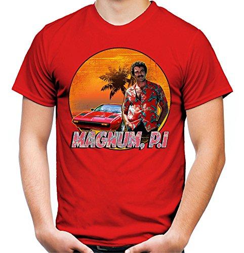 Magnum Männer und Herren T-Shirt | Spruch Kostüm Hemd Geschenk ||| M2 (XXL, Rot) (Tom Selleck Magnum Pi Kostüm)