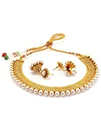 Sukkhi Glorious Gold Plated Wedding Jewellery Pearl Choker Necklace Set For Women (2719NGLDPP1250)