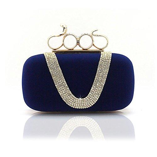 VENI MASEE® Frauen u. Mädchen Eleganz & Abschlussball-Partei-Abendhandtasche mit Kristall magischen Ring Griff, Handtasche, Geschenkideen - verschiedene Farben, Preis / Stück - royalblau