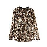 Loveso Hemd Langarmhemd Elegant Neuer Frauen-Leopard-Druck-Lange Hülsen-Chiffon- Hemd Dünne Beiläufige Blusen (40, Leopard)