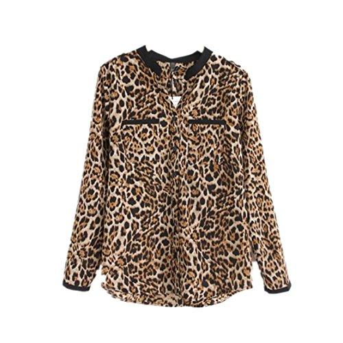 Loveso Hemd Langarmhemd Elegant Neuer Frauen-Leopard-Druck-Lange Hülsen-Chiffon- Hemd Dünne Beiläufige Blusen (40, Leopard) (Leopard-mann Handtaschen Aus)