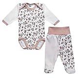 MEA BABY Unisex Baby Bekleidungsset mit Aufdruck 2 TLG. Baby Langarm Body und Stramplerhose mit Fuß. (56, Creme-Esel)