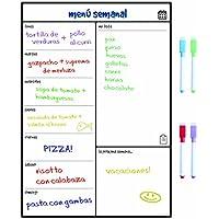 SmartPanda Calendario Magnético para Nevera - Una Manera Perfecta de Organizarse - Ideal Planificador de Menú, Recordatorio, Lista de la Compra - Pizarra Magnética Incluye 4 Rotuladores de Color – Semanal – En Español