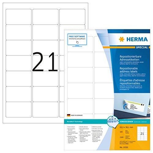 Herma 10301 Adressetiketten ablösbar, wieder haftend (63,5 x 38,1 mm) weiß, 2.100 Adressaufkleber, 100 Blatt DIN A4 Papier matt, bedruckbar, selbstklebend