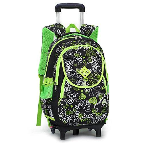 GudeHome Zaino Trolley borsa di scuola con ruote zaino di scuola con ruote per viaggio ragazza scuola bambini verde