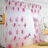 Moginp Vorhänge,Vorhang 1 STÜCKE Muster Curtains Tüll Tür Gardinen mit Kräuselband Gardinen Kinderzimmer Curtain Volants (E)
