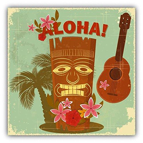 Aloha Hawaiian Post Card Vintage Hochwertigen Auto-Autoaufkleber 12 x 12 cm