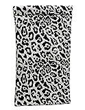 Sunglass Pouch & Brillentasche - Squeeze Top XL Brillenetui mit Reinigungstuch - für mittlere und übergroße Sonnenbrillen - große Brillenetui, Smartphone-Tasche & Makeup Pouch (CT8 Leopard White)